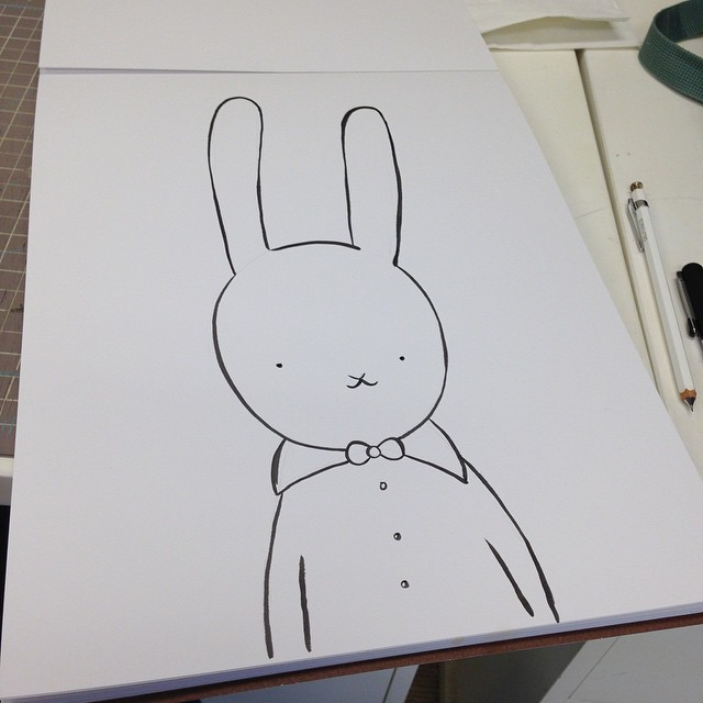 Working on big bunny portrait! #drawing #draw #illustration