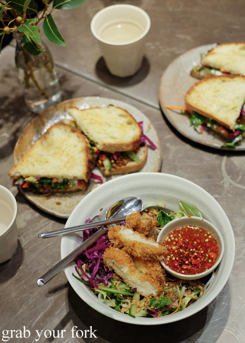 Thai sandwiches and salads at Boon Cafe at Jarern Chai, Sydney