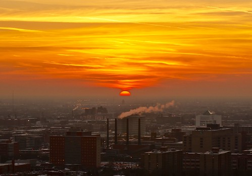 city sunset sky chicago industry industrial factory smokestacks pw