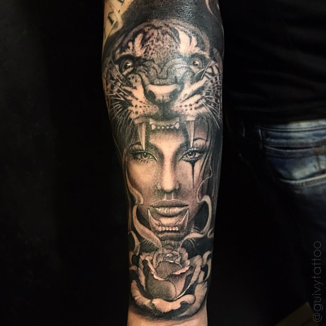 👉@guivytattoo  Tigergirl#tigre#femme#visage#portrait#wildlife#girltattoo#womantattoo#guivy#tattoo#artforsinners#geneve#geneva#tatouage#inkedgirl#realism