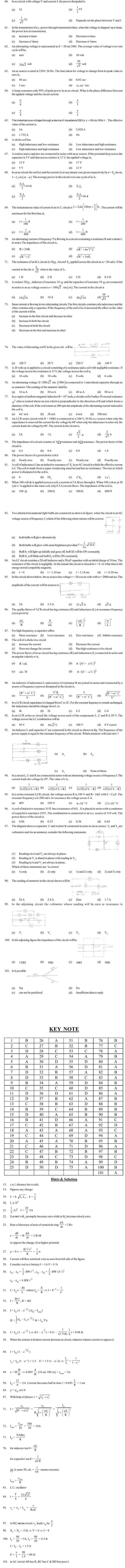 JEE and AIPMT Question Bank Physics - Electromagnetic Induction and Alternating Currents