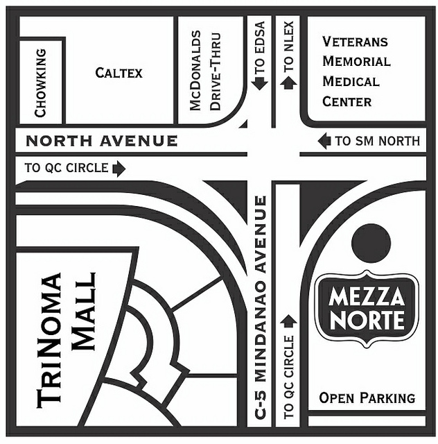 Map to Mezza Norte Trinoma