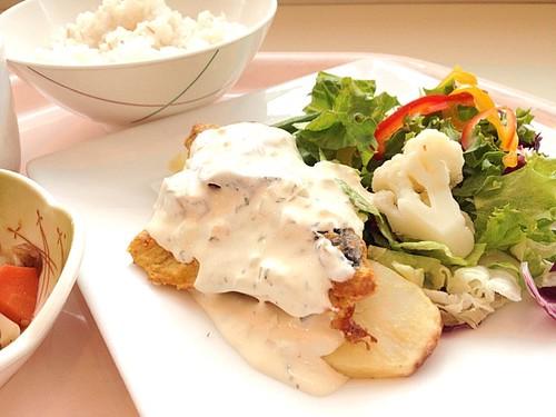 今日の社食はタラのカレームニエル。ヘルシータルタルソース。540円。