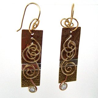 Etched, Soldered, and Wirework Earring