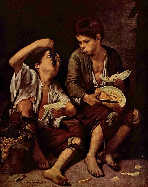 Picaruelos típicos en la España del siglo de Oro. Bartolomé Esteban Murillo. Óleo sobre lienzo. 1645-1655