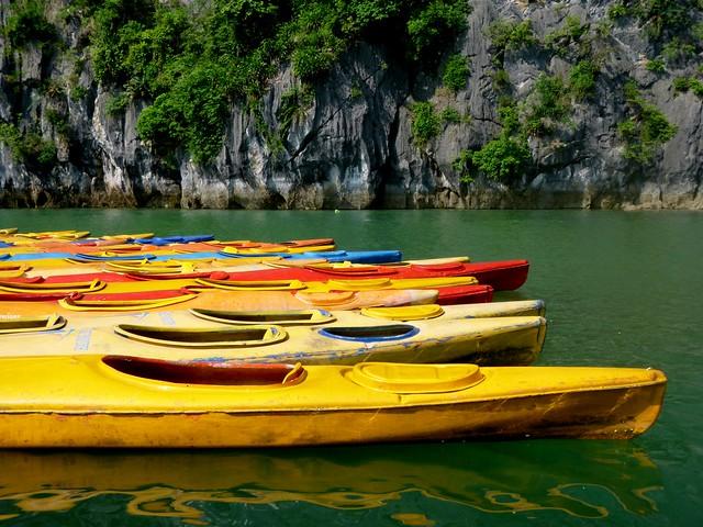 Kayaks in Halong Bay, Vietnam