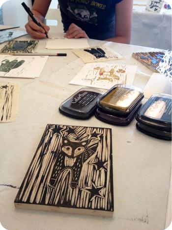 At Laura Daub's art studio