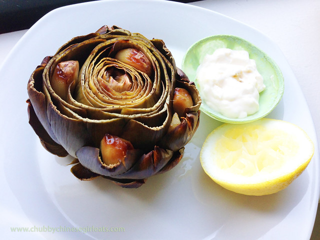 RECIPE roasted artichokes with lemon garlic aioli