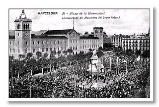 Monument al Doctor Robert in Plaça de la Universitat 1910