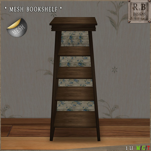 PROMO ! *RnB* Mesh Bookshelf V - Blue Roses II (copy)