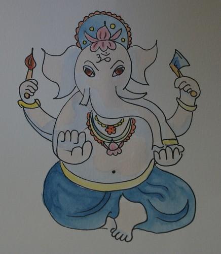 Watercolour drawing of Ganesha