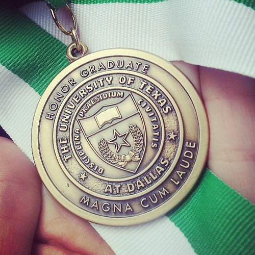 My honors medallion from the @ut_dallas honors ceremony :) Magna cum laude!