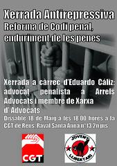 Xerrada antirepressiva a Reus 18 maig. Reforma del codi penal i sancions