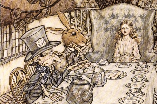 The Mad Hatter's Tea party from Alice's Adventures in Wonderland by Arthur Rackham, 1907