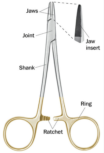 The main parts of a needle holder. The handles consist of a shank, a ring, and a ratchet mechanism that locks the needle in place.