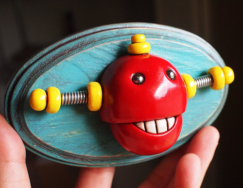 3D Robot Wall Art - Chewing Bot - Red Shabby Chic Robot Artwork