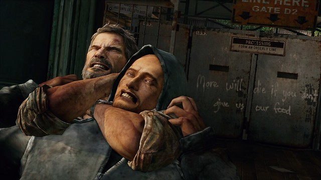 The Last of Us for PS3 - joel chokehold on hunter