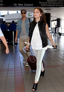 Kristin Kreuk Leather Vest Celebrity Style Women's Fashion