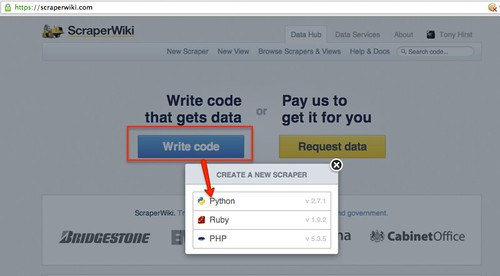 scraperwiki create new scraper