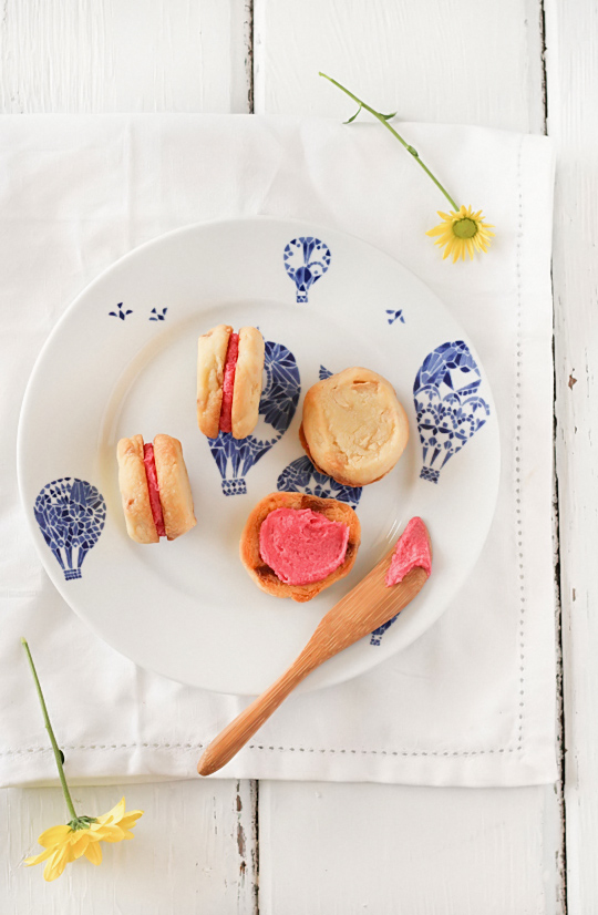 White Chocolate Shortbread with Raspberry Icing