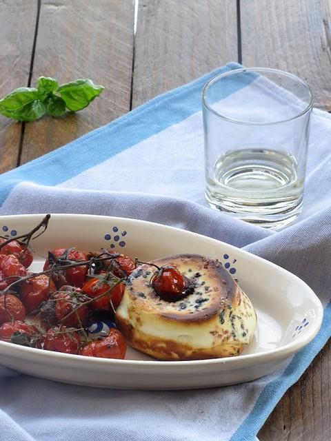 Ricotta di Bufala al Forno con Sali Colorati e Pomodorini Confit alle Acciughe Piccanti