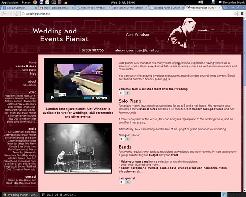Screenshots of old website on Flickr