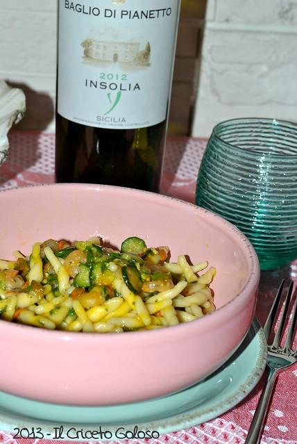 Trofiette con fiori di zucchina e gamberetti (2)