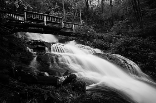 park bridge blackandwhite bw waterfall appalachian smokies smokymountains blueridge