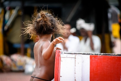 Little girl at Madurai railway station, India, 2010