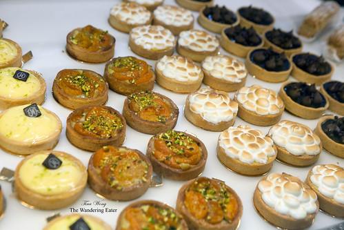 Various tarts - yuzu, apricot pistachio, lemon merignue, chocolate