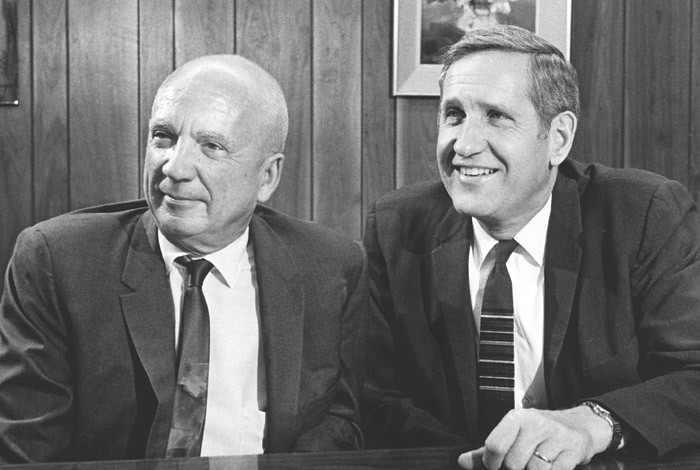 Norris Bradbury (left) and Harold Agnew, the second and third directors of Los Alamos National Laboratory, in 1970.