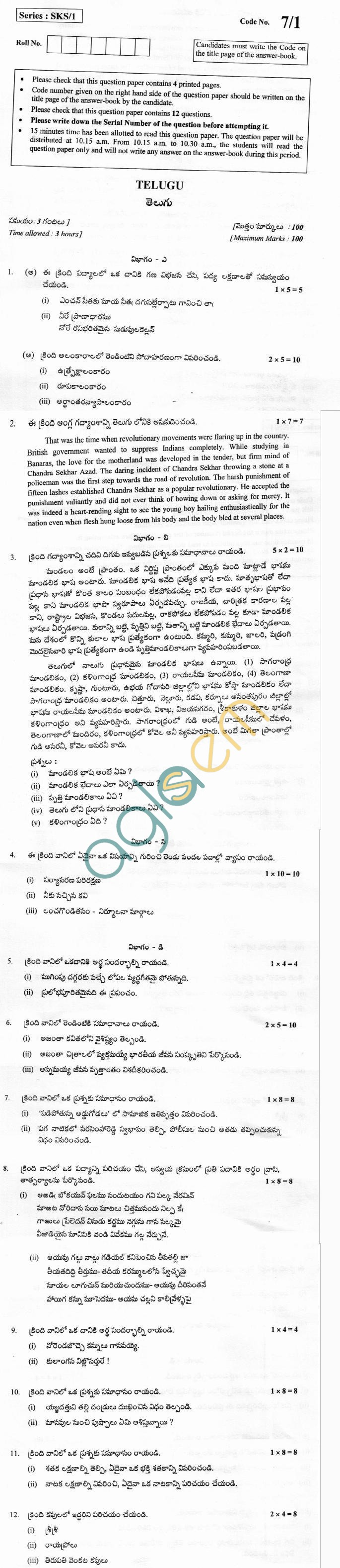 CBSE Board Exam 2013 Class XII Question Paper - Telugu