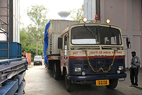 Spacecraft being received at SDSC SHAR Sriharikota