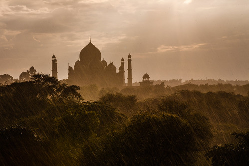 Taj Mahal in the rains, Agra, India