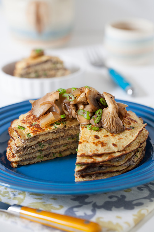 Mushrooms Oat Bran Pancakes 3