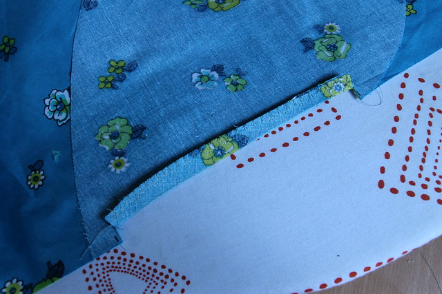 Neaten edge, here I have used an overcast machine stitch and sewn the seam allowance together