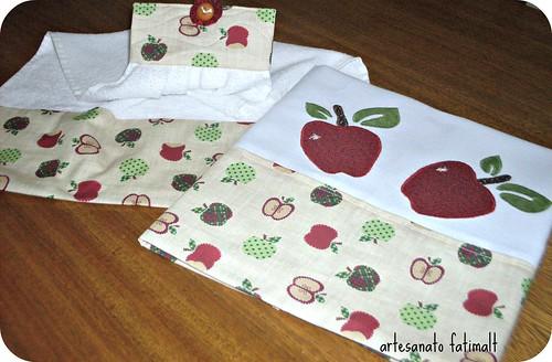 Maças- pano de copa e toalha de mão by fatimalt