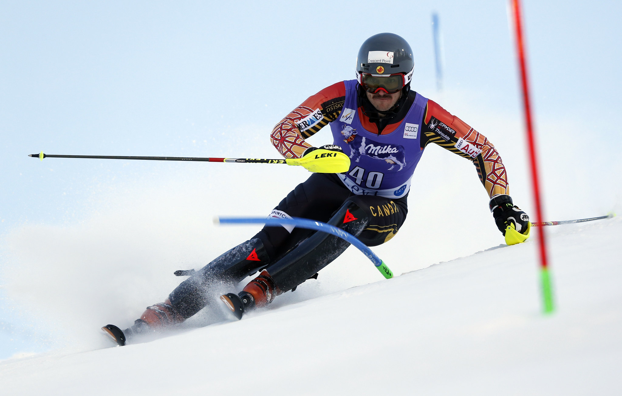 Brad Spence makes his return from injury in the slalom in Levi, FIN.