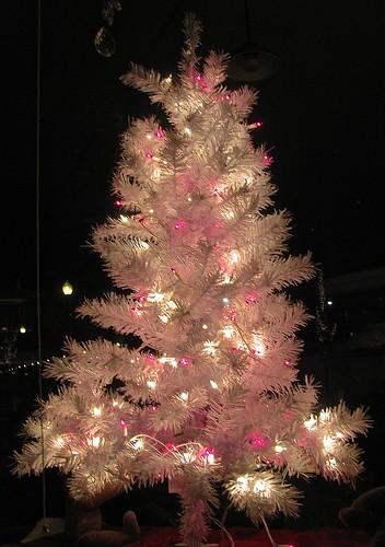 Shiny pink tinsel tree