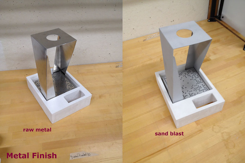 sandblasting metal. i finished the metal by sandblasting over in east campus shop. this gave aluminium a nice matte finish. it was my first time and