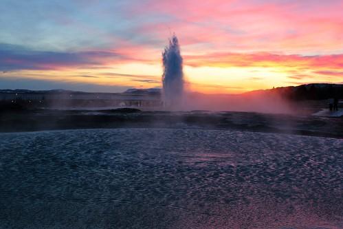 winter sunset sun snow water iceland reflex dusk geyser geysir strokkur ísland haukadalur picmonkey:app=editor
