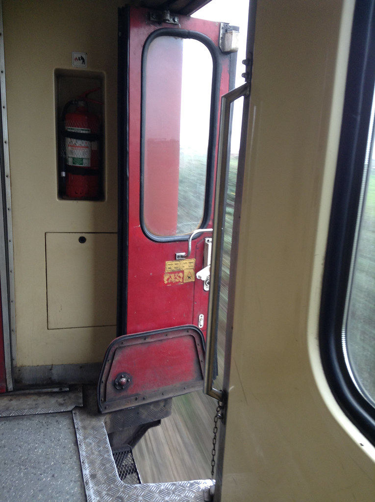 Door open on Romanian train