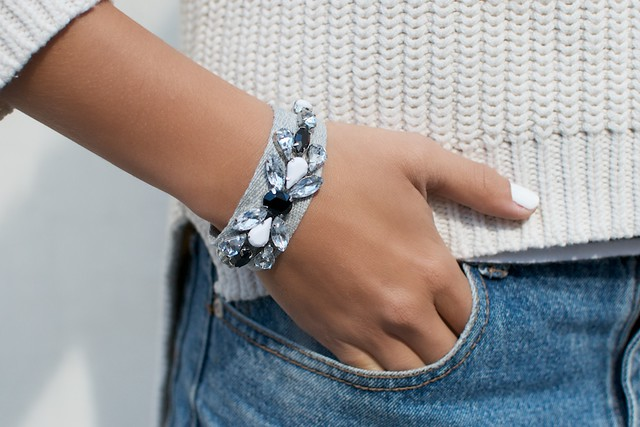 Make your own jeweled ribbon bracelets
