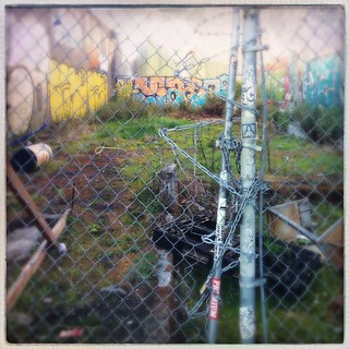 Graffiti, Fence, & Chain with Lock in Dog Patch