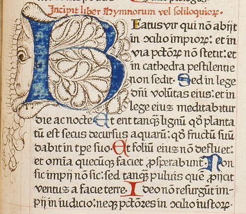 Biblia sacra - Lettre B ornée de la tête d'un hybride zoomorphe