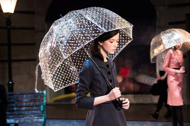 Orla Kiely AW14 London Fashion Week presentation umbrellas of cherbourg theme