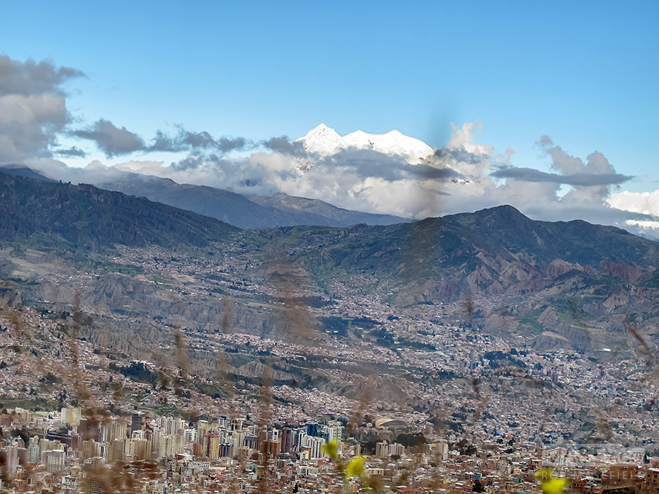 The snow-capped Mt Illimani rising over La Paz.