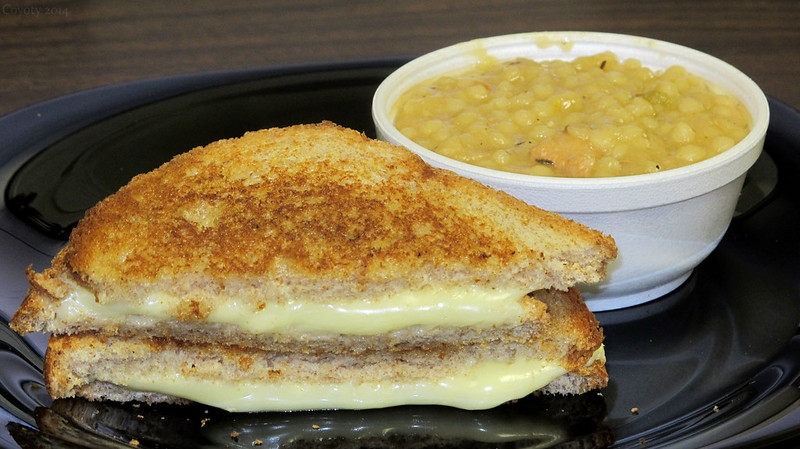 Chicken couscous soup and grilled cheese on wheat
