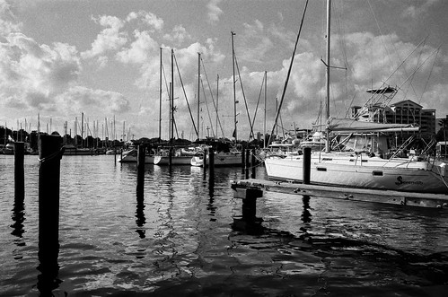 blackandwhite bw film home water marina boats nikon florida 28mm melbourne ilfordhp5 hp5 local ilford f4 28mmf18 nikonf4 littletinperson
