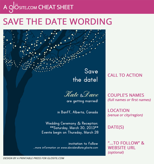 Glosite Save The Date Wording Template